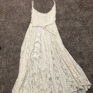 Free People cream lace dress.